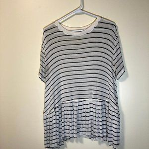 Abound Nordstrom White & Black Stripe Flounce T